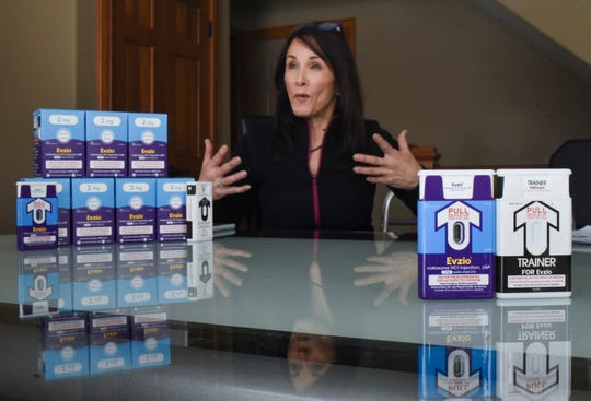 """If my efforts save one life, it's worth it,"" Kathy Reddington of Haslett said Tuesday afternoon, Jan. 22, 2019, as she showed the Lansing State Journal how to use naloxone, an opioid overdose reversal kit.   Reddington has been training people on using the kits for about five years."