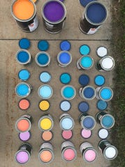 Paint pots for public mural at Art Slam 2018.