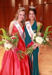 Miss Harbor Cities' Outstanding Teen 2018 Olivia Lulich (left) and Miss Harbor Cities 2018 Serena Larie moments after their crowning on March 17, 2018, in Manitowoc.