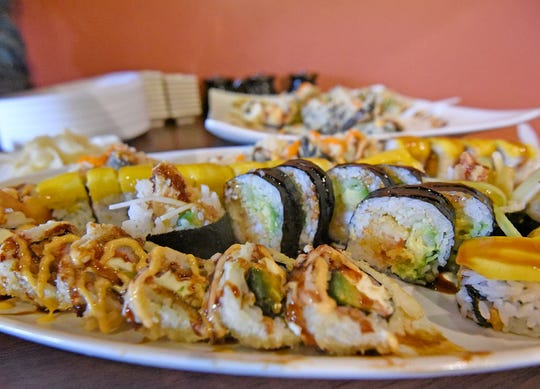 Various types of sushi were available to sample Tuesday during Wokano's grand re-opening.