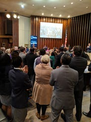 Greater Memphis Chamber representatives gather in Memphis City Council chambers on Tuesday where Councilman Berlin Boyd dedicated the council's annual Humanitarian Award to the late Chamber CEO Phil Trenary.