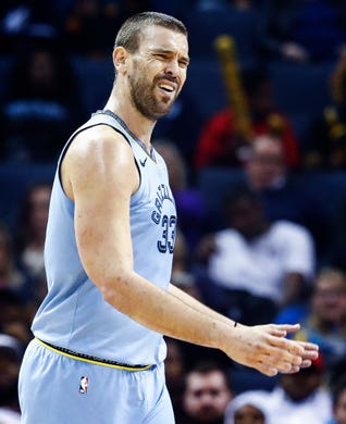 Memphis Grizzlies center Marc Gasol reacts to an officials call during action against New Orleans Pelicans at the FedExForum in Memphis, Tenn., Monday, January 21, 2019.