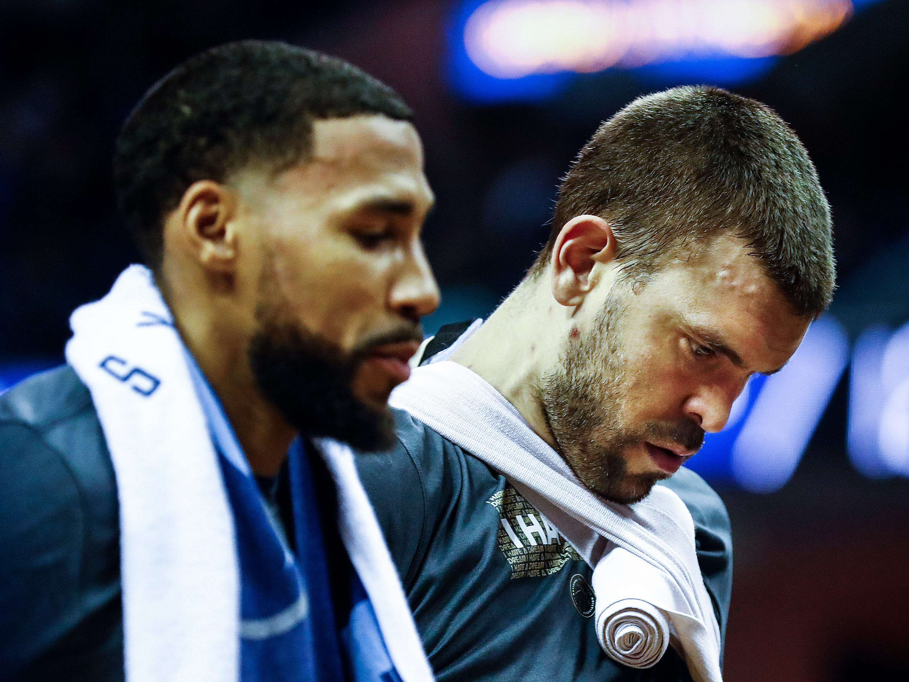 Memphis Grizzlies teammates Garrett Temple and Marc Gasol during a break in action against New Orleans Pelicans at the FedExForum in Memphis, Tenn., Monday, January 21, 2019.