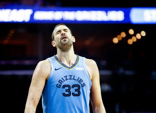 Memphis Grizzlies center Marc Gasol reacts in the final minutes of a 105-85 loss to the New Orleans Pelicans at the FedExForum in Memphis, Tenn., Monday, January 21, 2019.