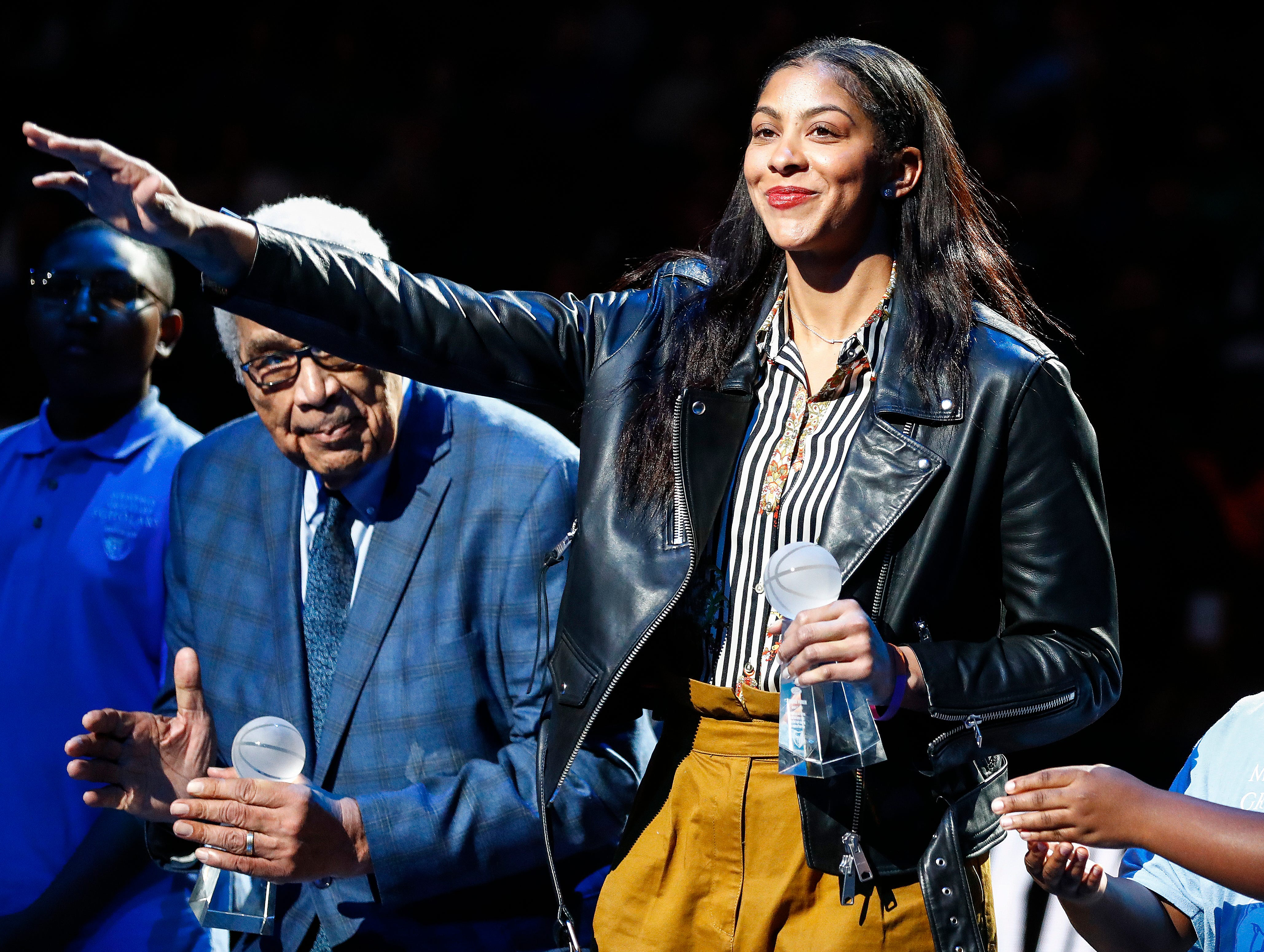 Former WNBA player Candace Parker receives the 14th Annual National Civil Rights Museum Sports Legacy Award before the Memphis Grizzlies take on the New Orleans Pelicans at the FedExForum in Memphis, Tenn., Monday, January 21, 2019.