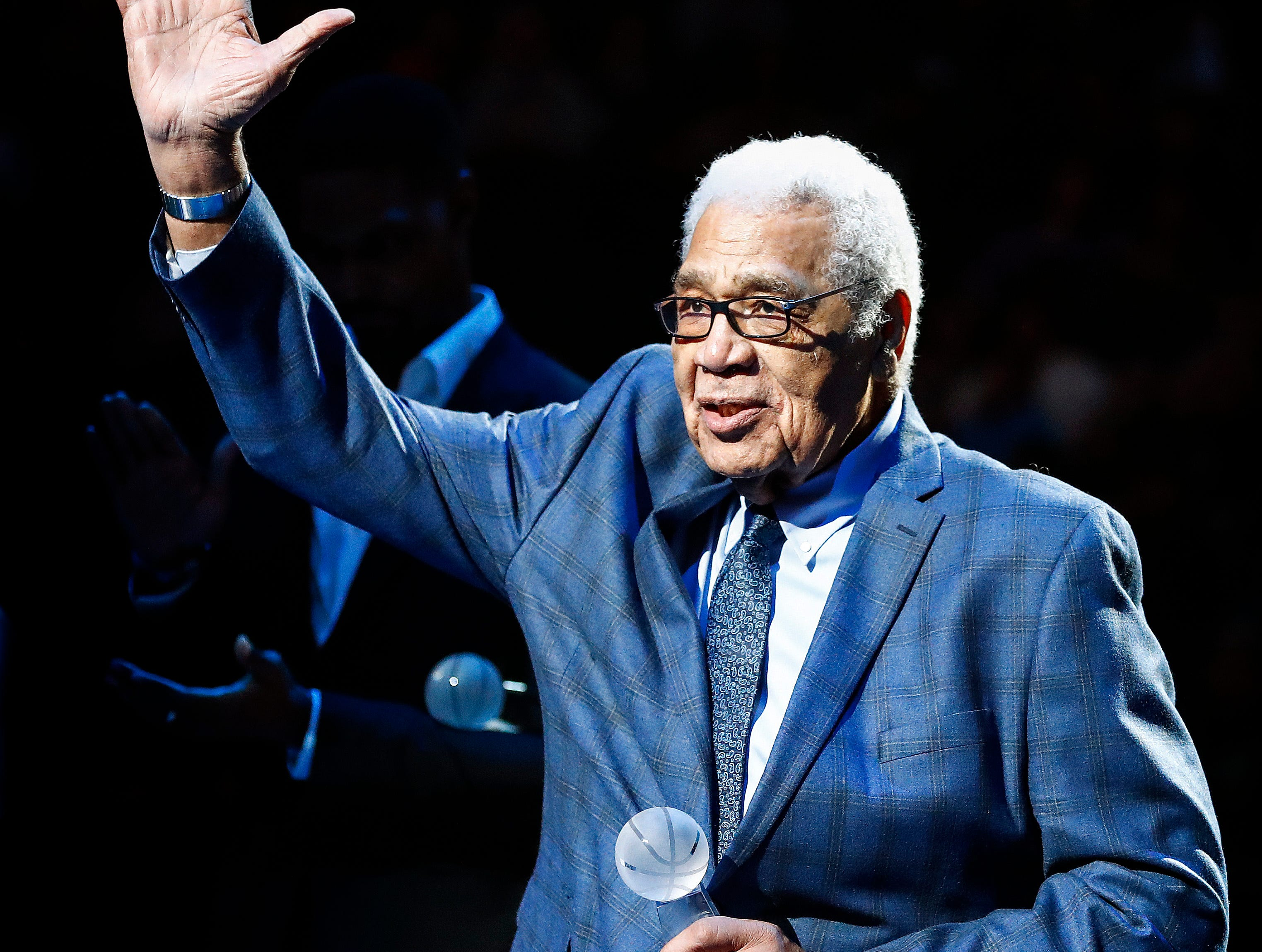 Former NBA player Wayne Embry receives the 14th Annual National Civil Rights Museum Sports Legacy Award before the Memphis Grizzlies take on the New Orleans Pelicans at the FedExForum in Memphis, Tenn., Monday, January 21, 2019.