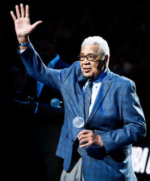 Former NBA player and general manager Wayne Embry receives the 14th Annual National Civil Rights Museum Sports Legacy Award before a game in Memphis in January. Embry will receive the 2020 Mannie Jackson-Basketball's Human Spirit Award in May. [USA TODAY Network}