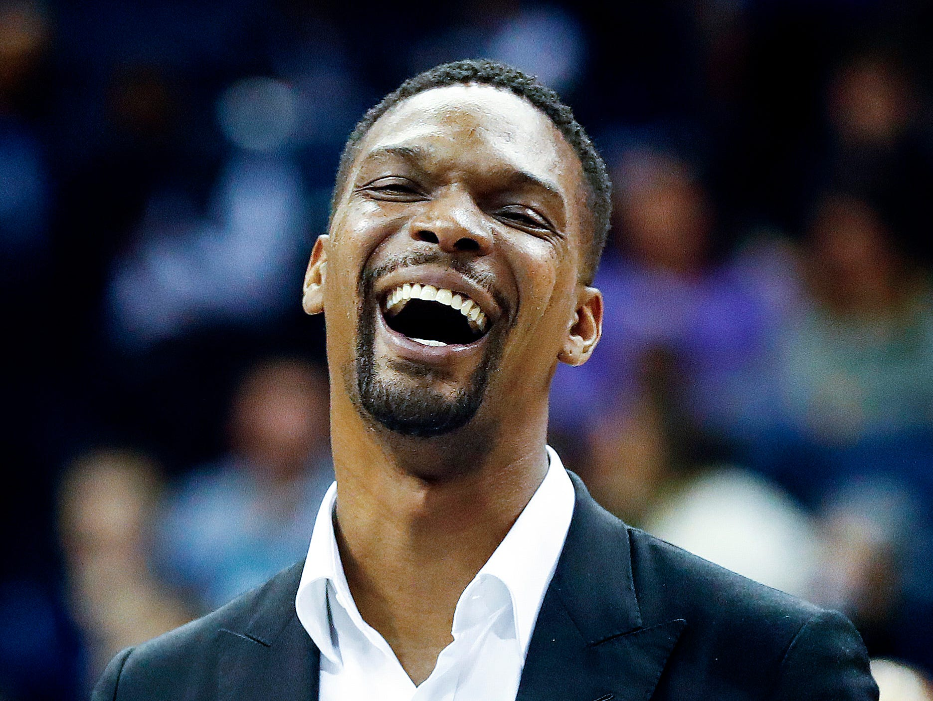Former NBA player Chris Bosh receives the 14th Annual National Civil Rights Museum Sports Legacy Award before the Memphis Grizzlies take on the New Orleans Pelicans at the FedExForum in Memphis, Tenn., Monday, January 21, 2019.