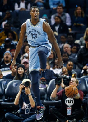 c2f7cfe9d Memphis Grizzlies center Jaren Jackson Jr. reacts after being called for a  foul against New