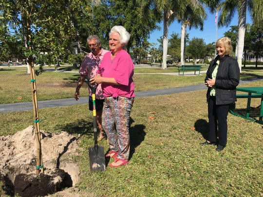 Calusa Garden Club members attending the tree.