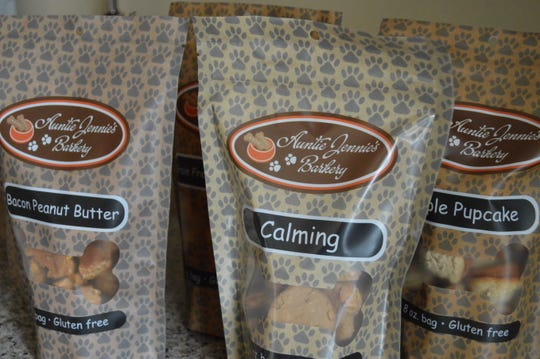 """Auntie Jennie's Barkery makes 13 kinds of treats year-round, a """"flavor of the month"""" and seasonal options."""