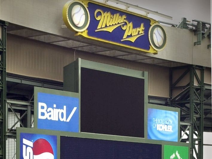 The Miller Park scoreboard awaits testing.