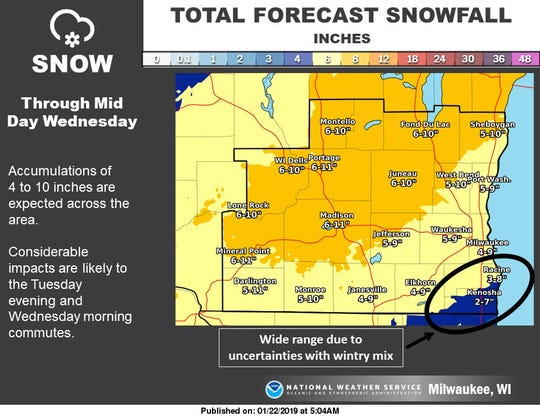 SE Wisconsin snow totals