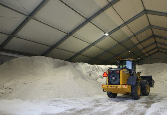 Lake Country residents are having a hard time finding salt after an ice storm hit on Feb. 6. This image shows a village of Menomonee Falls public works storage facility taken Jan. 22.