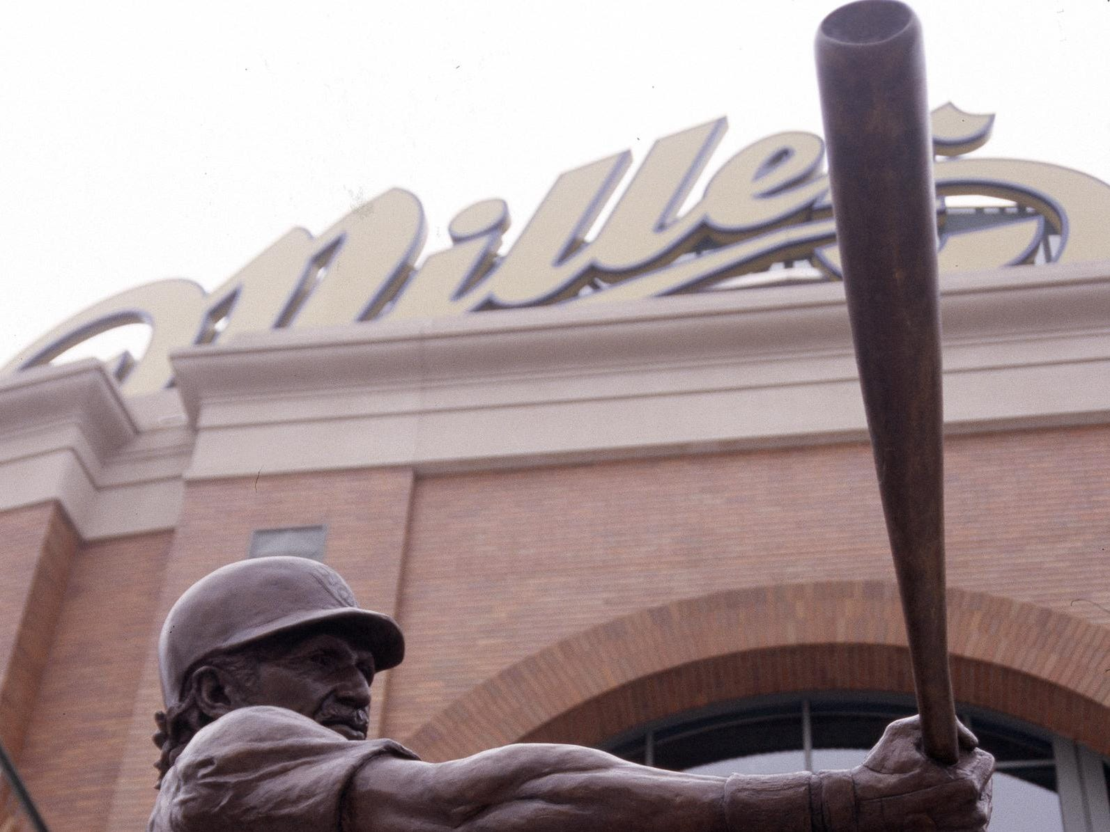A statue of Brewers Hall of Famer Robin Yount flexes outside Miller Park in Milwaukee.