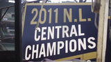 The Milwaukee Brewers 2011 National League Central Division championship pennant is installed at Miller Park.