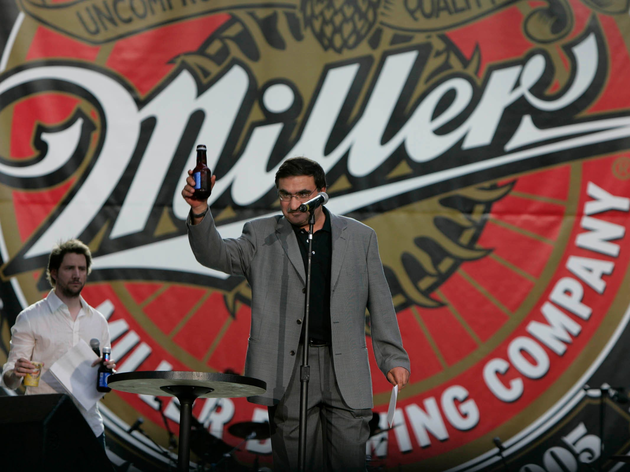 "Norman Adami, president and CEO of Miller Brewing Co., welcomes those attending opening announcements at the 150th anniversary of the Miller Brewing's ""The Big Brew-Ha"" celebration at Miller Park Saturday, Aug. 20, 2005."