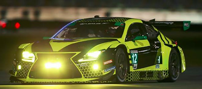 The No. 12 Lexus to be shared by Townsend Bell, Frankie Montecalvo, Jeff Segal and Aaron Telitz runs during the Roar Before the 24 test at Daytona International Speedway.