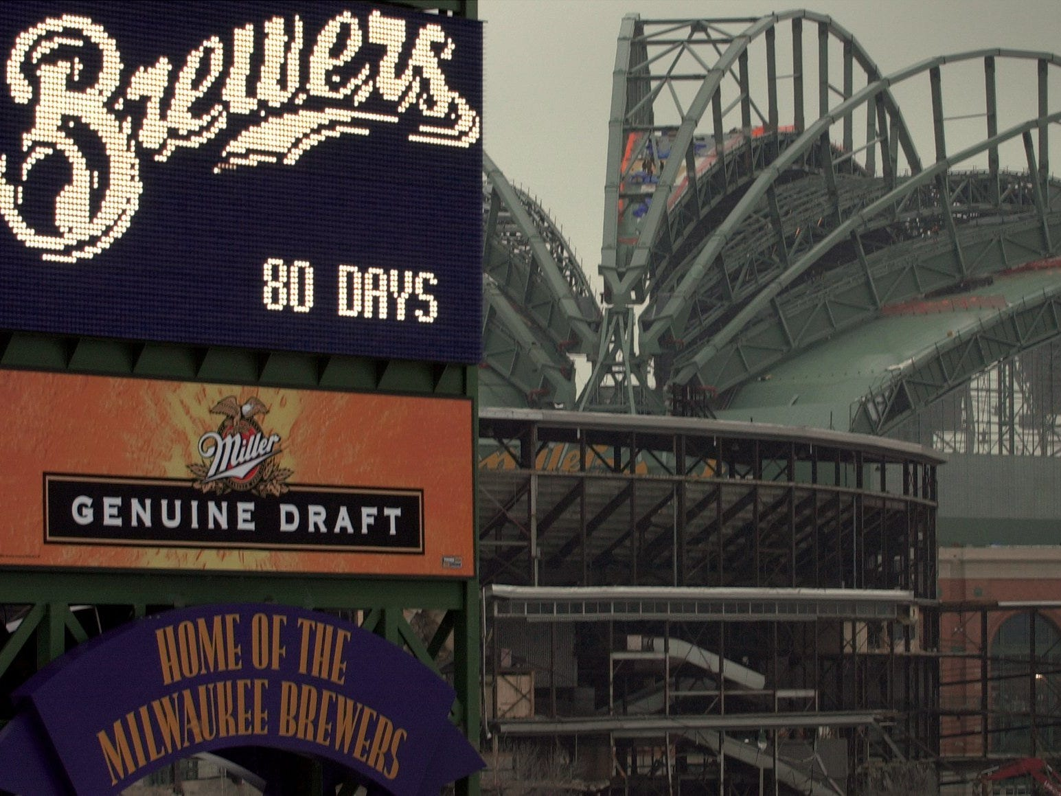 A new sign next to I-94 has been illuminated with a countdown to the opening of Miller Park Jan. 16, 2001.