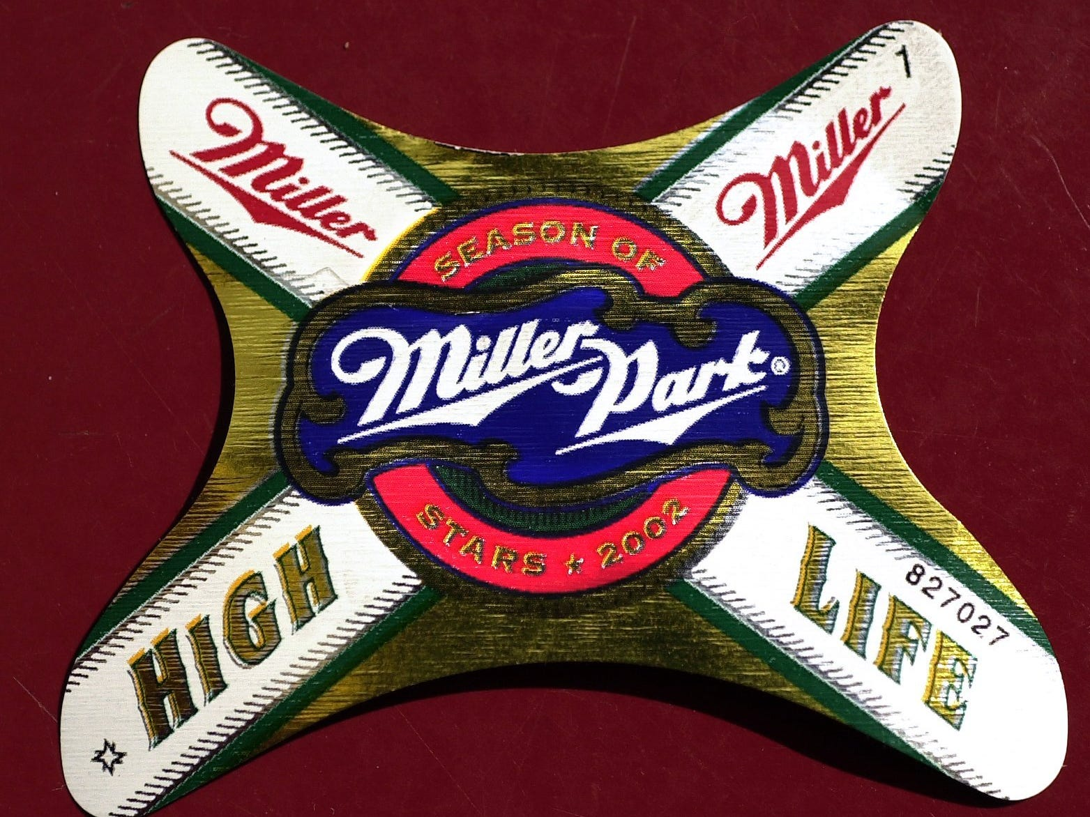 Miller Brewing is starting production on beer with new labels depicting the start of the season and the all-star game at Miller Park. Here a close-up of the label that goes on the bottle neck on March 27, 2002 .