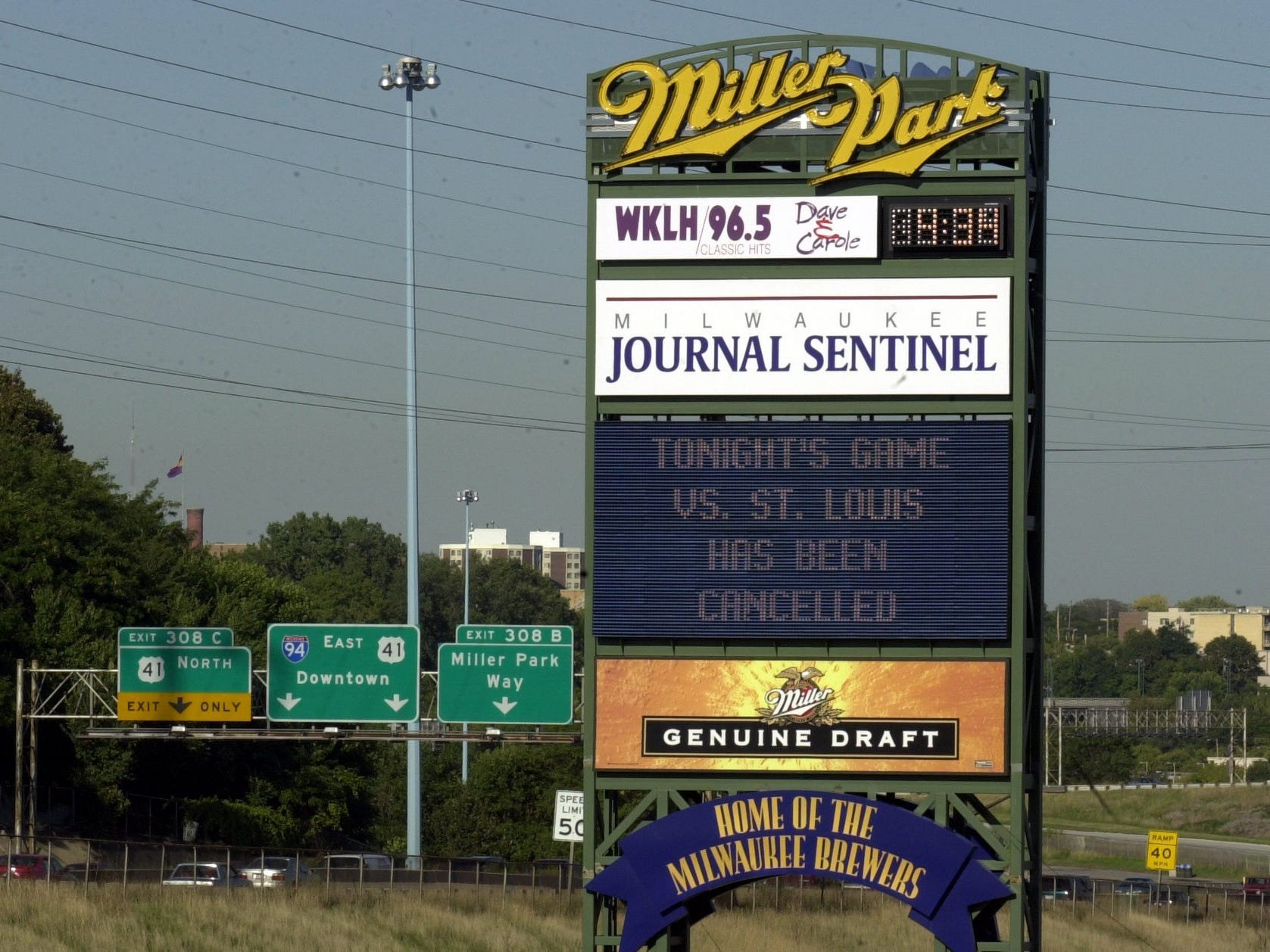 A sign informs fans that the Brewers game against St. Louis has been canceled as well as all other Major League Baseball games after the terrorist attacks in New York and Washington, D.C., Tuesday, Sept. 11, 2001.