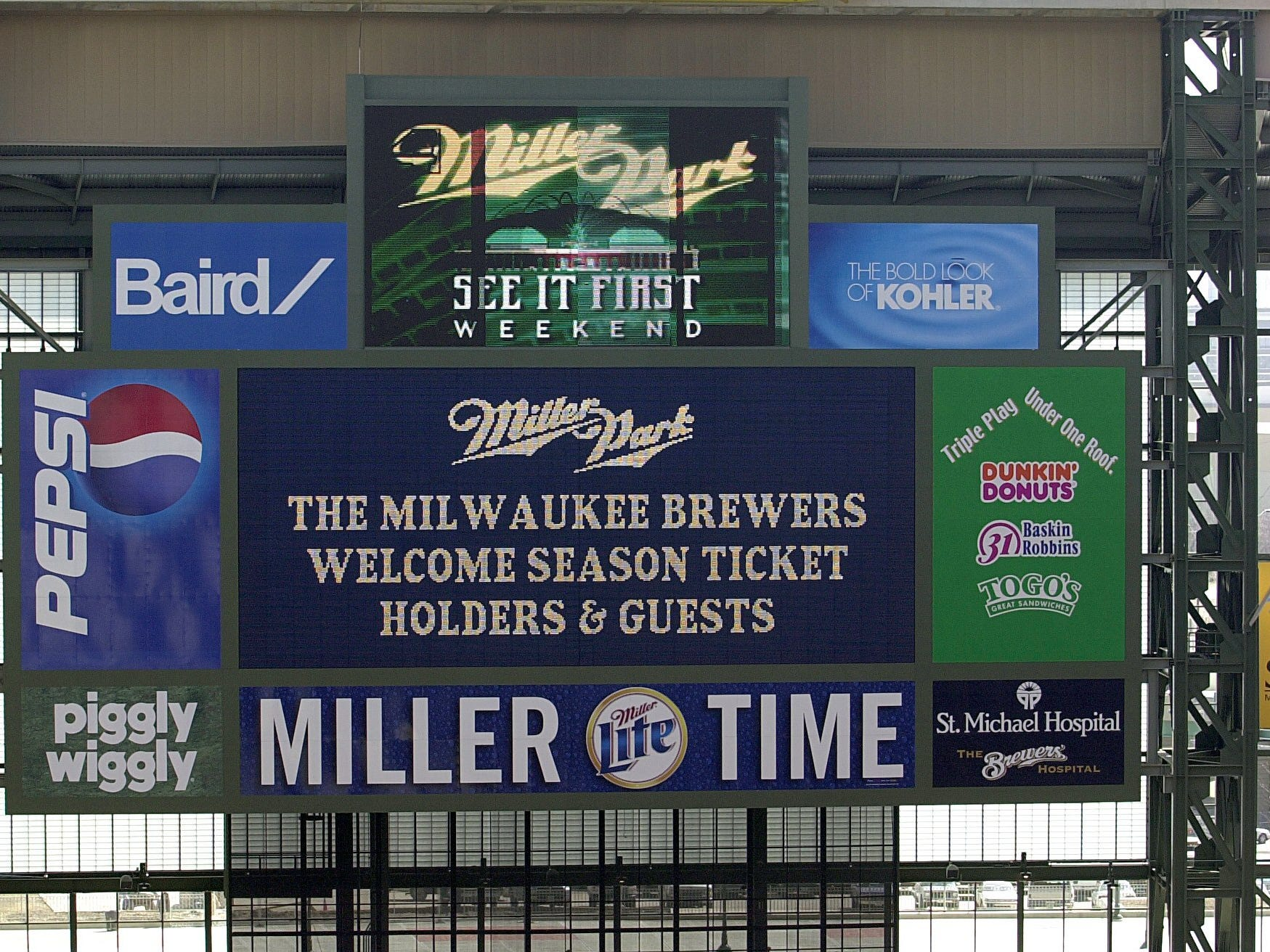 The Miller Park scoreboard is shown Friday, March 23, 2001.