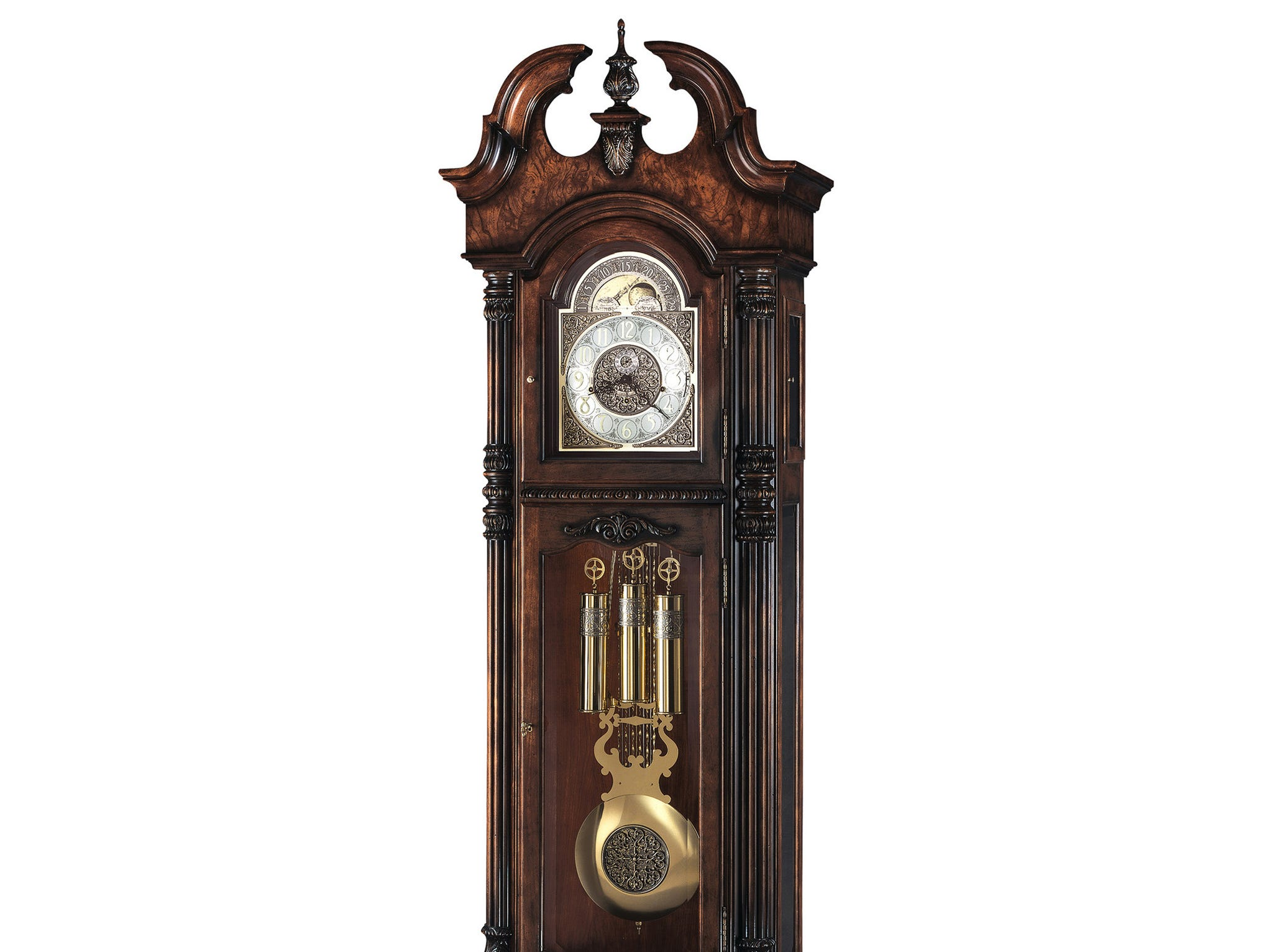 Classic, ornate grandfather clocks, such as this one sold at Hawkins Clock Center, are still in demand, though less so than in years past. They're pricey; this one sells for $11,129.