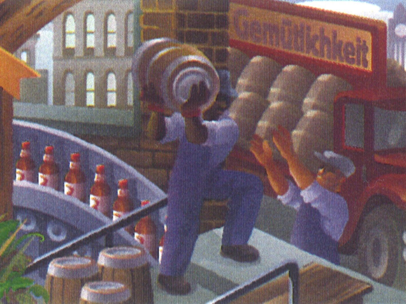 A Miller Park mural depicts Milwaukee's brewing history.