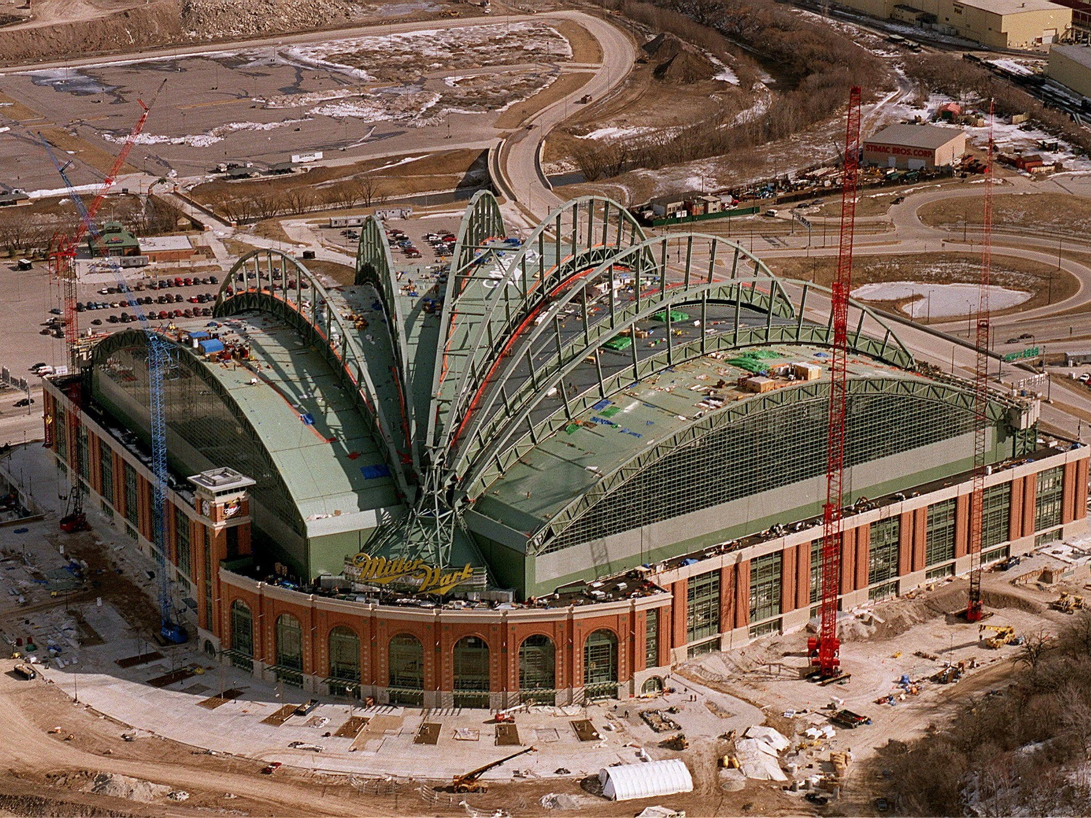 A look at Miller Park's retractable roof in  2001.
