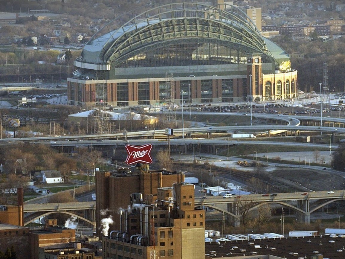 Miller Brewing company is shown with Miller Park in the background on Monday April 15, 2002.
