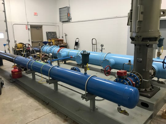 A pump system that feeds half of the snow guns at Ausblick is capable of running four pumps, each capable of pushing out 800 gallons of water per minute at 350 pounds of pressure per square inch.