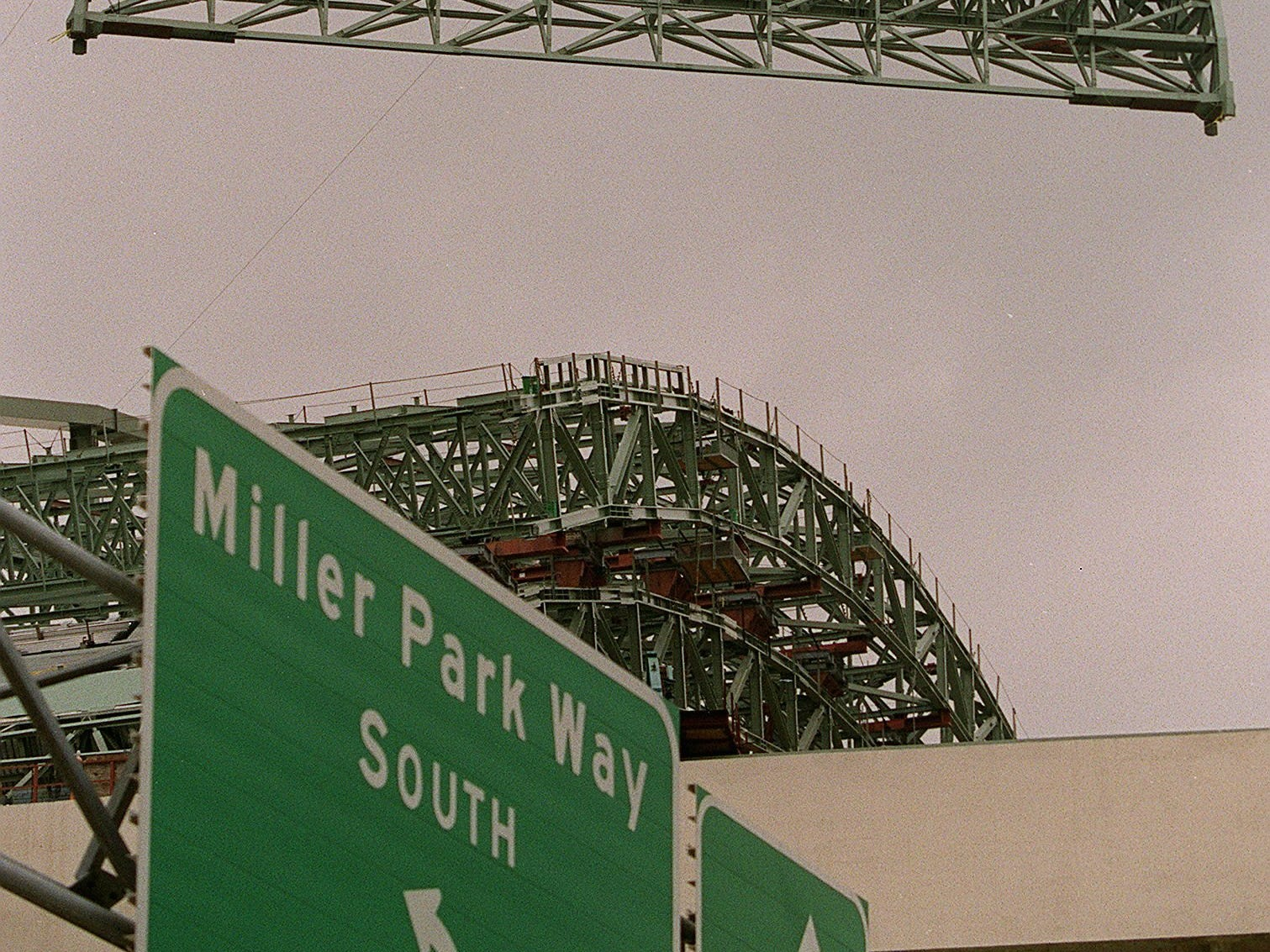 Miller Park is nearing completion as the last roof piece is put into place  in 2000.