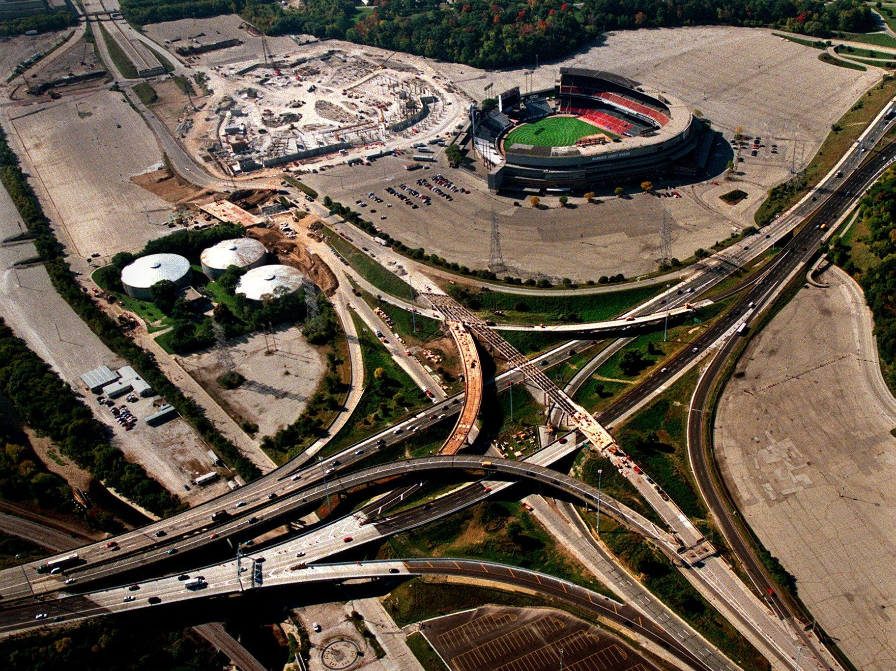 Work continues on the Stadium Interchange during Miller Park's construction.