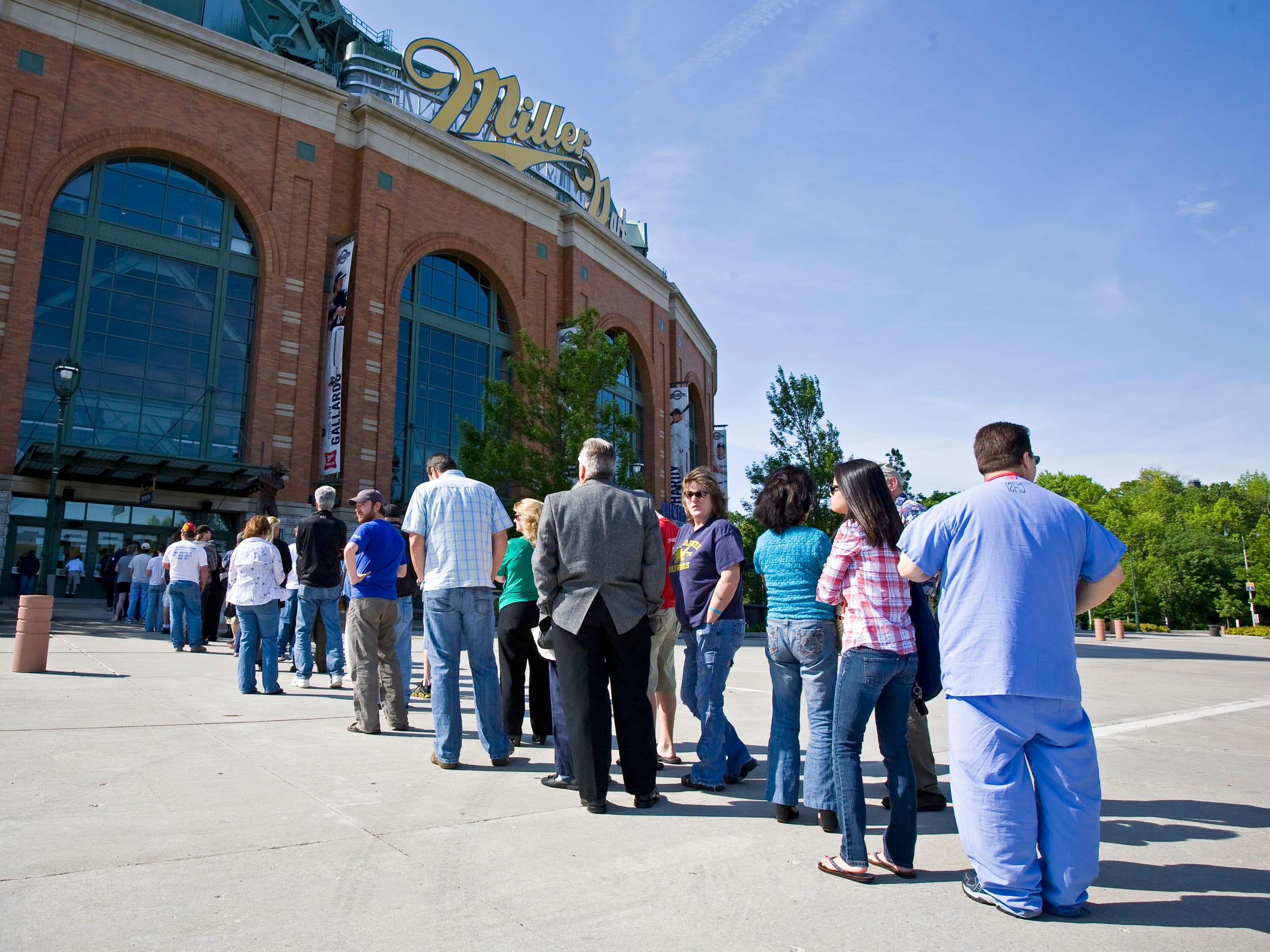 Discount tickets went on sale at Miller Park  June 1, 2009. A lined formed to get a deal to see the first-place Brewers.