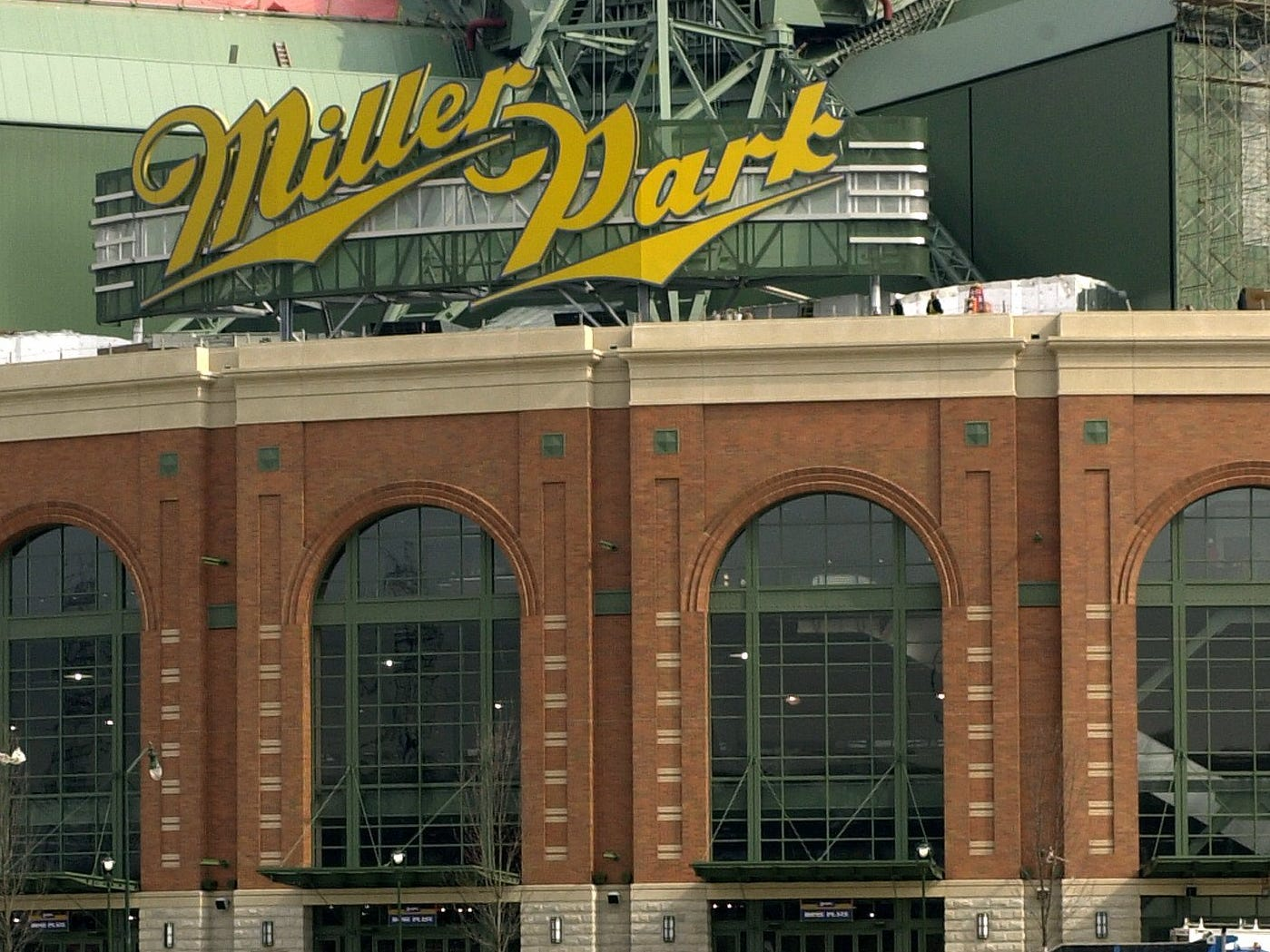 Miller Park with new signage.