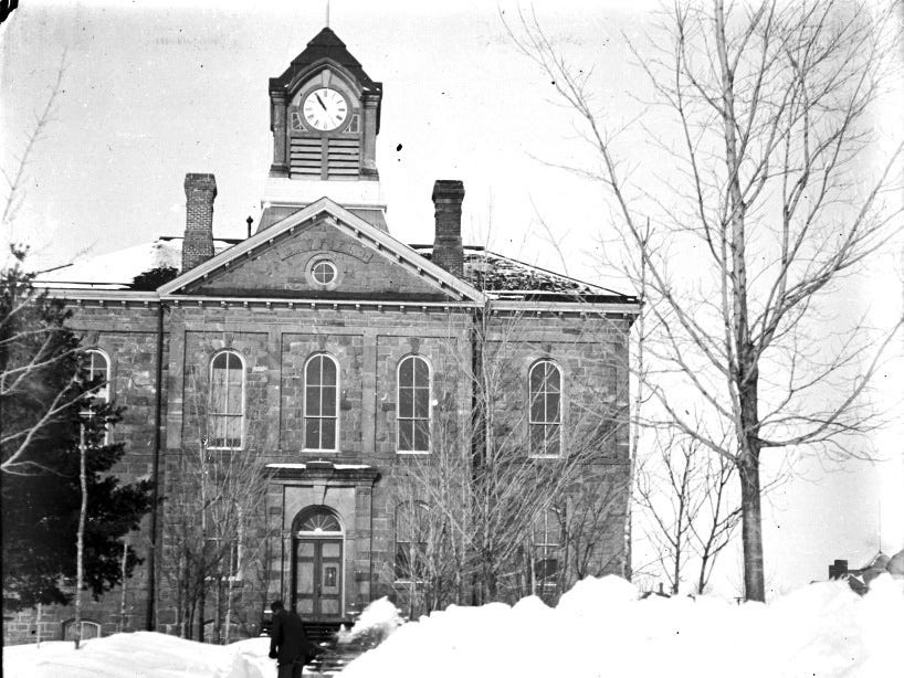 GOES WITH MEG JONE STORY SLUGGED APOSTLE --  The courthouse is shown in a 1905 photograph made by Emmanuel Luick (CQ) about 100 years ago in Bayfield, Wis.  Luick, who served as keeper at the Sand Island lighthouse in the Apostle Islands from 1892 to 1920, was know as an enthusiastic photographer and captured scene of daily life and ran a portrait studio in the winter time. The group recently obtained a trove of 220 glass plate negatives made by Luick.