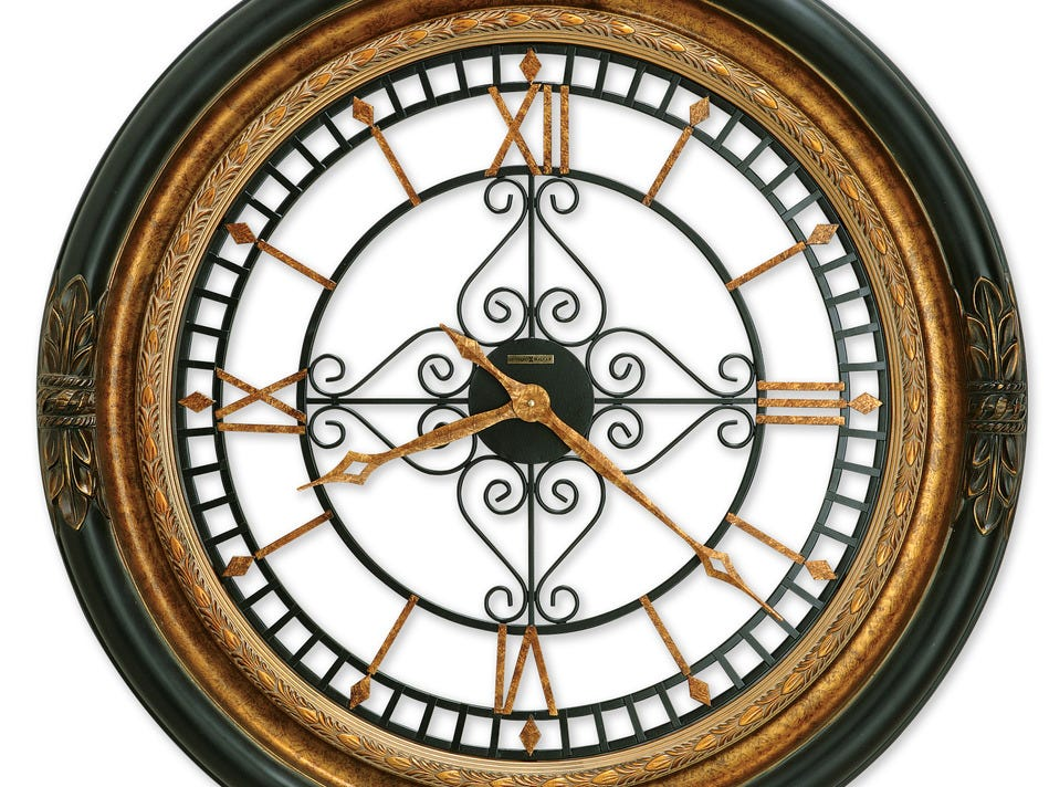 This 37-inch Rosario wall clock is finished in black satin with gold highlights and wrought iron. It sells for $690 at Hawkins Clock Center.