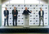 Executives with the Milwaukee Brewers and American Family Insurance announce the naming rights change from Miller Park.