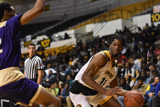 Grambling's . Axel Mpoyo registered a double-double of 11 rebounds and 10 points on Monday night.