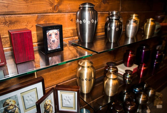 A selection of urns and other memorial items for pet cremation services at Loose Funeral Home in Anderson. The Loyal & True Pet Cremation Services branch of Loose Funeral Home started in 2007.