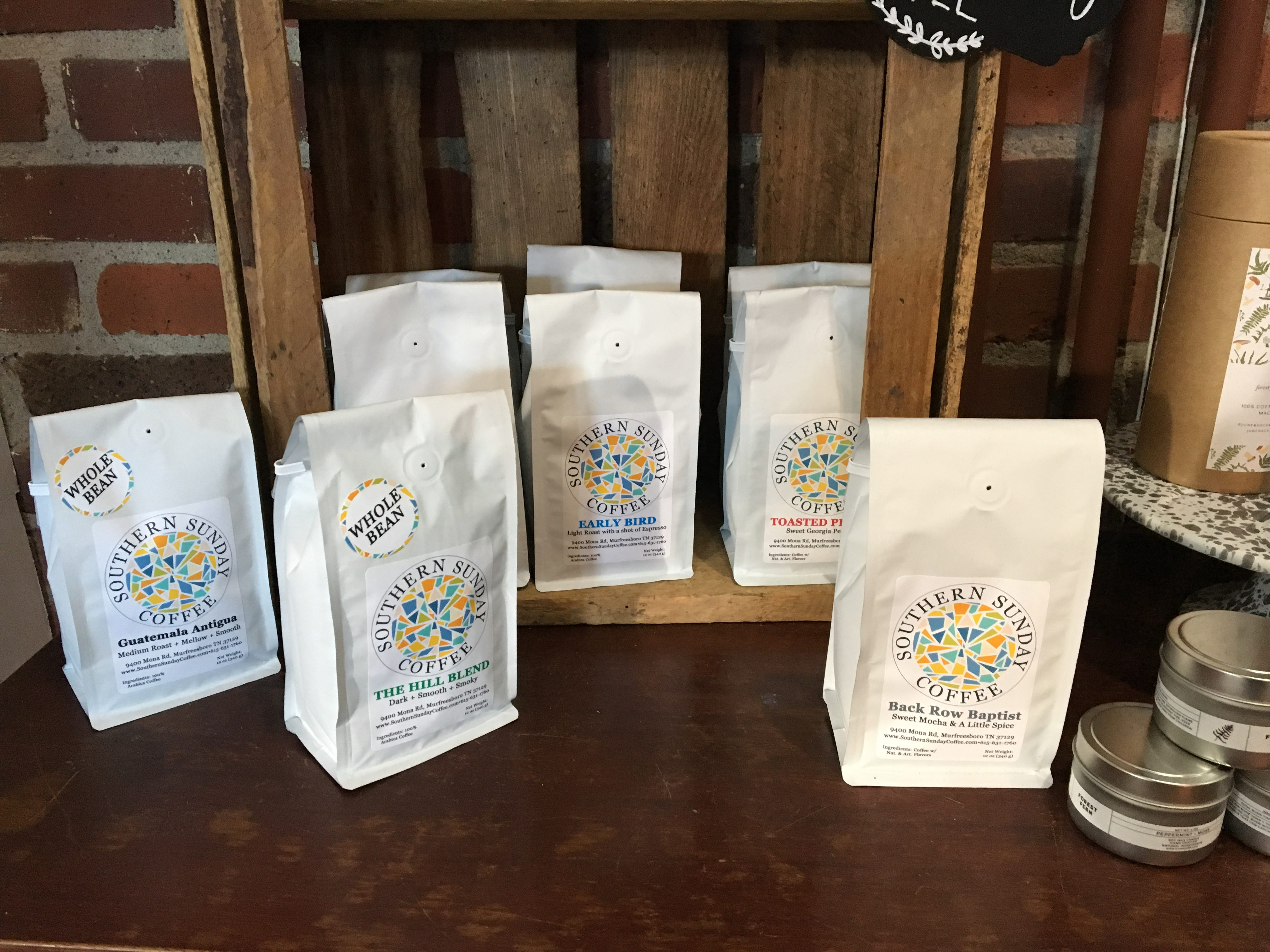 Take home a package of Southern Sunday coffee beans from Tasty Table and Olive Branch Bakery.