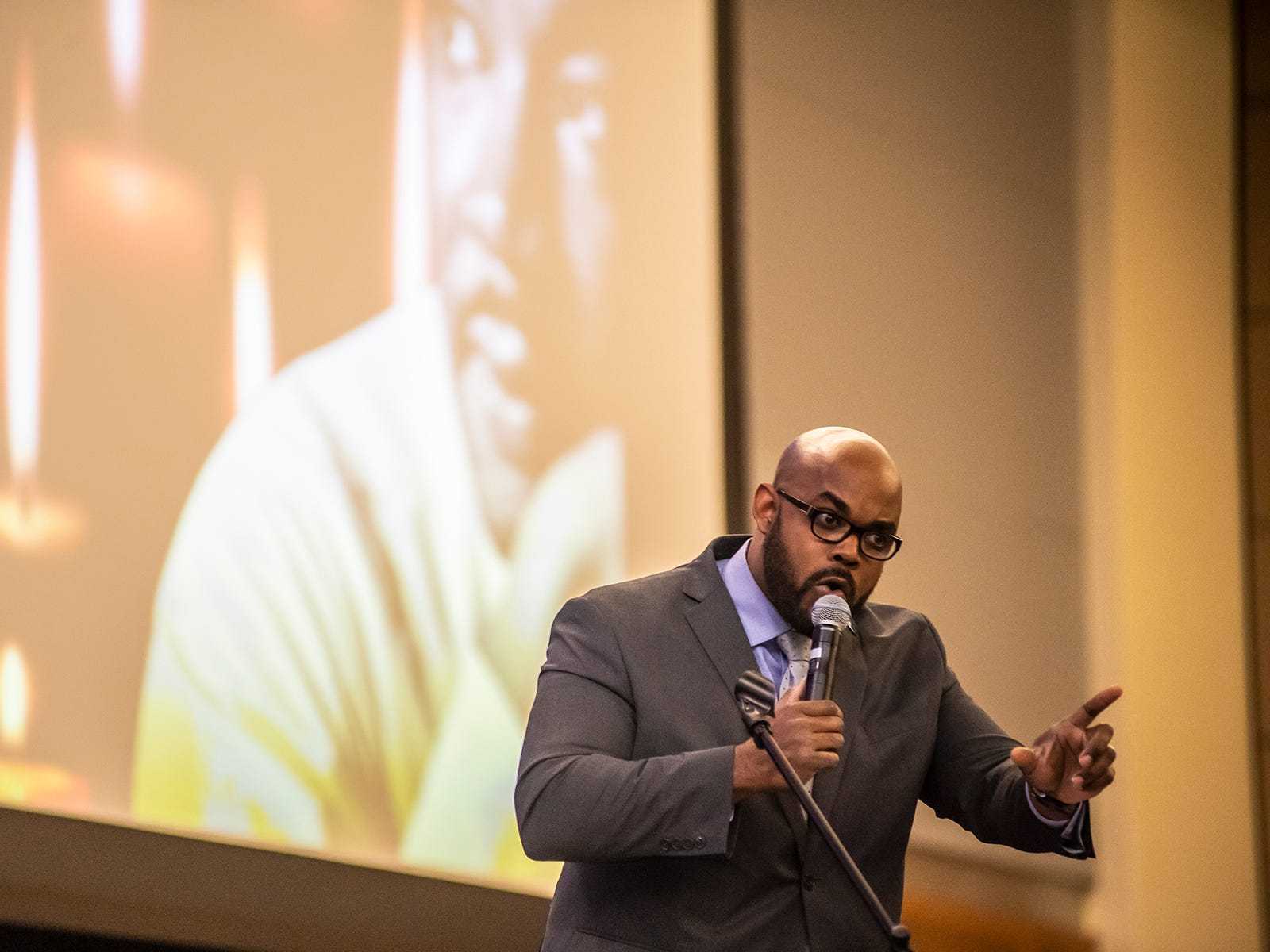 Aaron Treadway, assistant professor of history at MTSU, delivers the keynote address at the university's candlelight vigil in observance of Martin Luther King Jr. Day, Jan. 21, 2019.
