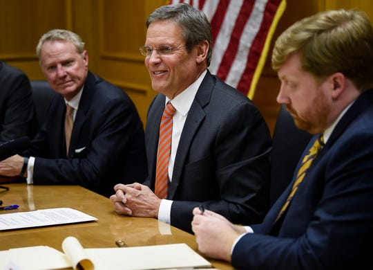 Governor Bill Lee addresses his cabinet during their first meeting of his administration at the State Capitol Tuesday, Jan. 22, 2019, in Nashville, Tenn.