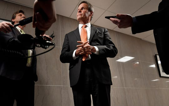 Gov. Bill Lee takes questions from the media at the State Capitol Tuesday, Jan. 22, 2019, in Nashville, Tenn.