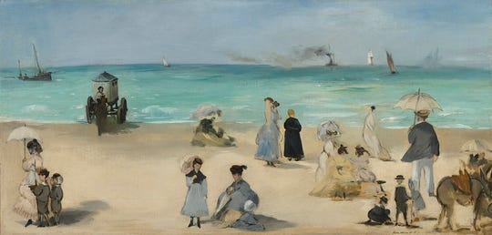 "Édouard Manet (French, 1832-1883). ""On the Beach, Boulogne-sur-Mer,"" 1869. Oil on canvas, 12 3/4 x 26 in. Virginia Museum of Fine Arts, Richmond, Collection of Mr. and Mrs. Paul Mellon, 85.498."