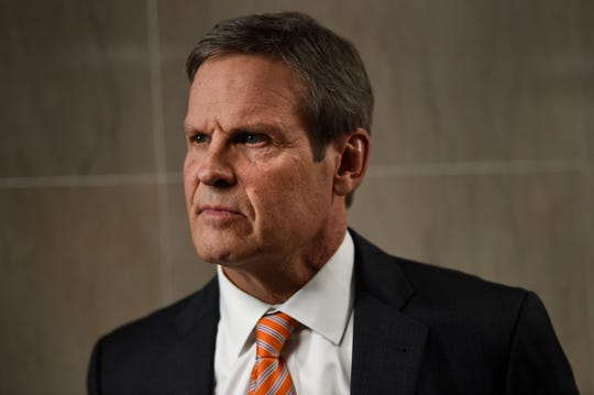 Gov. Bill Lee takes questions from the media at the State Capitol on Tuesday.