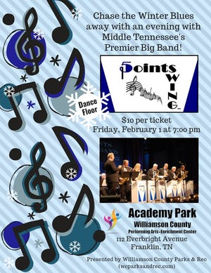 Dancers can jitterbug the night away when Five Points Swing, a big band ensemble comprised of 20 members, performs a concert of lively, nostalgic music Friday, Feb. 1.