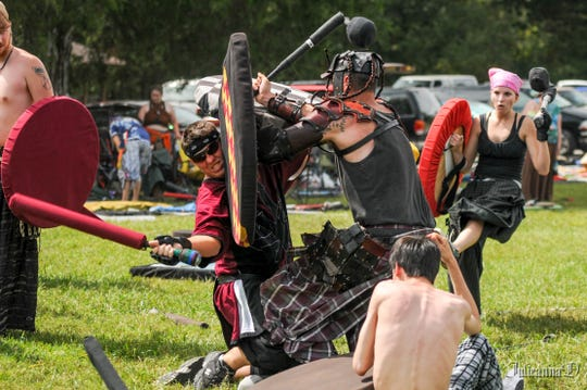 Dur Demarion is Nashville's medieval combat society, and dozens of people run around hitting each other with foam swords, javelins, arrows and maces at Elmington Park on Sundays.