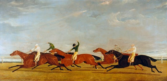 "John Frederick Herring, Sr. (British, 1795-1865). ""The Final Lengths of the Race for the Doncaster Gold Cup,"" 1826. Oil on canvas, 17 3/4 x 35 3/4 in. Virginia Museum of Fine Arts, Richmond, Paul Mellon Collection, 99.79."