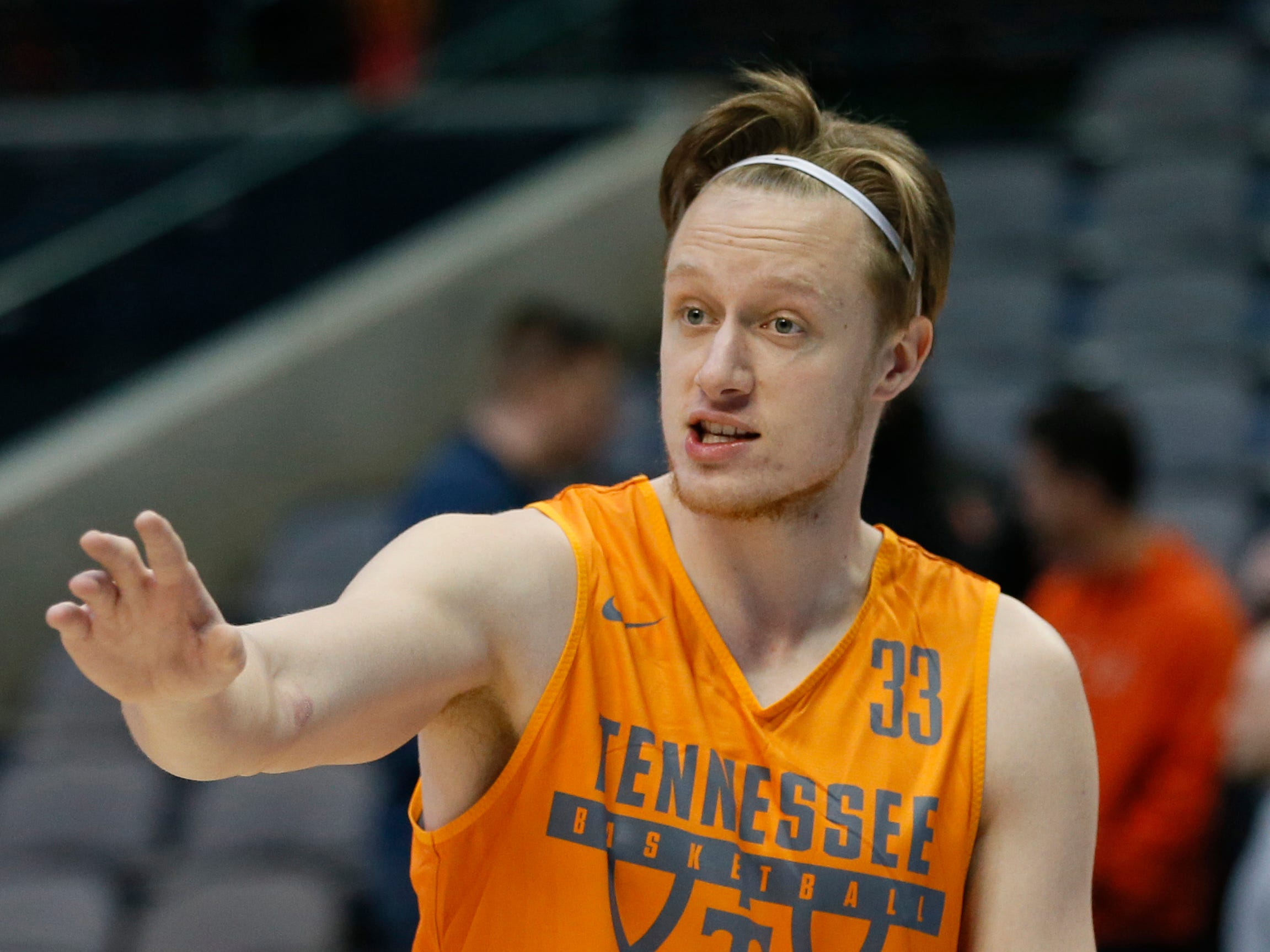 Tennessee Volunteers forward Zach Kent (33) reacts during the practice day before the first round of the 2018 NCAA Tournament at American Airlines Center.